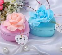Free shipping bride groom flower heart shaped metal candy box/ Wedding DIY Favor Packaging Tin Box/ jewelry box