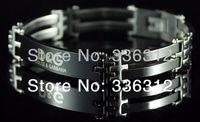 BA-11022 silver stainless steel bracelet mens womens inlay Italy designer black logo word 1.0cm wide brand bangle chain hot gift