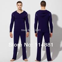 Free Shipping 2 Piece Top and Bottom Thermal Long Johns Set/Yoga clothes Modal Hooded  Shirts Long Johns RQ091