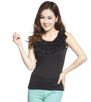 New Ladies Triple layer tank top sleeveless lace vest 2colors