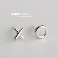Silver mini stud earring xo letter 925 pure silver ear asymmetrical