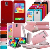 Free Shipping 1pcs Window leather Case Cover  for Samsung Galaxy S5 SV i9600