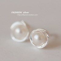 Silver 925 pure silver stud earring small natural pearl elegant ladies elegant high quality female