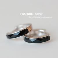 Silver brief ol fashion ear buckle hoop earrings 925 pure silver inlaying earring fashion all-match