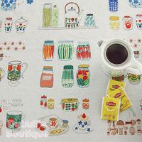 Grandma's Kitchen Floral Print Collage Illust Cut Cotton Linen Quilt Fabric, Charm Sewing Handmade Textile, 43x142cm