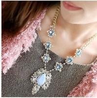 Free shipping Europe New Design All-match Rhinestone Blue women Necklace,fahion jewelry