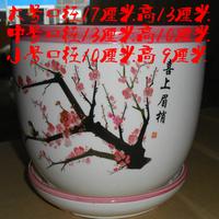 Ceramic flower pot extra large white flower pot jingdezhen ceramic vase houaphan flower pot belt plastic pallet