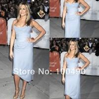 Jennifer Aniston Strapless short chiffon celebrity red carpet evening dress