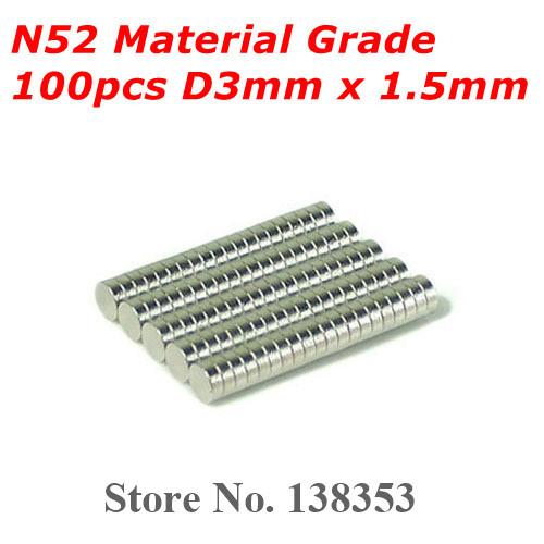 Гаджет  100pcs Bulk Super Strong N50 N52 Neodymium Disc Magnets Dia 3mm x 1.5mm Small Round Rare Earth NdFeB Magnet Sheets None Строительство и Недвижимость