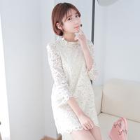 2014 spring ladies slim all-match embroidery laciness o-neck three quarter sleeve one-piece dress ai590