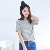 2014 spring women's brief all-match slim stripe o-neck short-sleeve shirt basic t-shirt ab956