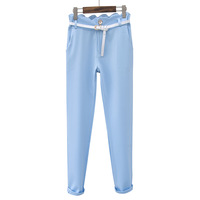 2013 spring women's scalloped slim brief solid color casual pants trousers female ak758