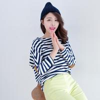 2014 spring women's casual fashion print stripe long-sleeve loose t-shirt patch female al690
