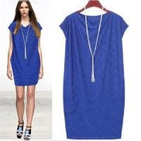 2014 new women summer casual dress high temperament European and American  fat girl Slim was thin dress plus size S-5XL