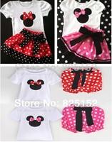 4sets/lot Wholesale Summer Children Girl's Skirt Suit Minnie Mouse baby Clothing sets dots t shirt + pants dress  girls clothes