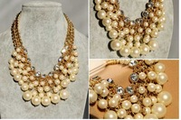 women New Fashion Luxury Multi-Layer Golden Chains Cluster Pearls Rhinestone Crystal Bib Necklace
