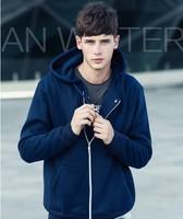 Spring 2014 Fashion Hoody  Pure Color  Loose Zipper Hoodies Sweatshirts For Man