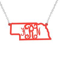 Nebraska  Necklace  monogram necklace Acrylic State Necklace State Charm  Map necklace