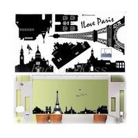 Eifel Tower Monochrome Wall Sticker Buildings DIY Home Decoration Small Size [4003-044]