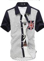 2014 Hot Selling Fashion Dot Patchwork Shirt Men England Flag Pockets Short Sleeve Man Shirts 6 Colors