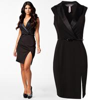 F0295 Elegant Business Dress Black Latest Fashion Suit collar beam waist kick pleat Sexy dress Clubwear with Belt wholesale