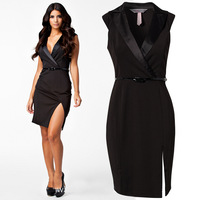 F0295 Elegant Business Dress Black Latest Fashion Suit collar beam waist kick pleat Sexy dress Clubwear with Belt wholesale
