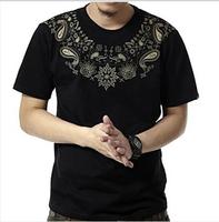 new men's big size  fat fashion short sleeve o-neck men's t-shirt black 2XL-3XL-4XL-5XL-6XL-7XL-8XL