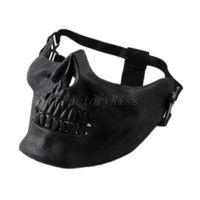 Free Shipping 2014 Promotion Mens Skull Skeleton Airsoft Game Hunting Biker Ski Half Face Gear Mask Guard [4003-012] 202