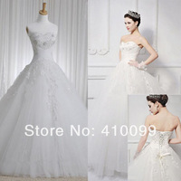 New arrival Gorgeous Ball gown Strapless Tulle Applique Lace-up Chapel Train Wedding Dresses Bridal Ball Gown Wedding Dresses