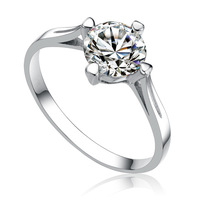 Luxurious Wholesale Genuine 925 sterling silver rhinestone wedding fashion ring jewelry for women 1C431