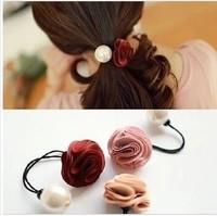 Korean Imported Fashion Hair Accessories Pearl Rose Flower Elastic Hair Bands Hair Ropes For Women Hair Flower Free Shipping