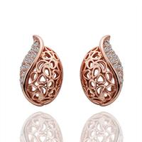 Fashion Woman Crystal Jewelry Stud Earrings 18KGP Rose Gold Plated Rhinestone Stainless Steel Dangling Earring