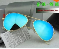 Free shipping men sun glasses women Colored reflective glass lens sunglasses Excellent Quality  Sunglasses 3025