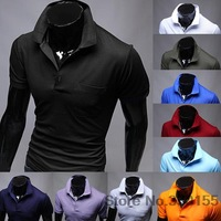 Men's new short-sleeved short-sleeved polo shirt Slim casual dress casual shirts men's clothing man spring 2014
