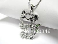 30pcs/lot panda crystal animal charm necklace jewelry silver chain