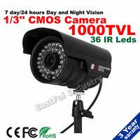 Free shipping!  CCTV Surveillance Security Camera 1000TVL 1/3 CMOS 36 IR Leds waterproof  Night Vision Indoor/Outdoor camera