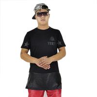 Fashion black zipper 77  leather long shirt style hip hop streetwaer  men brand t shirt  women t-shirts hot  selling yeez