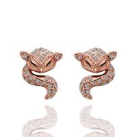 Fashion Woman Cute Fox Crystal Jewelry Stud Earrings 18KGP Rose Gold Plated Rhinestone Stainless Steel Dangling Earring