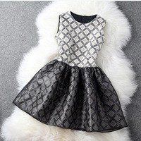 2014 Spring fashion new arrival woman casual sleeveless elegant vintage plaid patchwork princess style dress free shipping