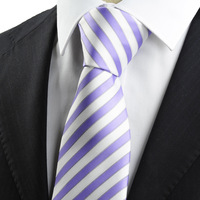 Free shipping  New Striped Purple White JACQUARD Men's Tie Necktie