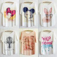 Fashion clothes women 2014 short-sleeve t shirt women plus size batwing sleeve loose t-shirt Free shipping