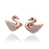 Fashion Woman Swan Crystal Jewelry Stud Earrings 18KGP Rose Gold Plated Rhinestone Stainless Steel Dangling Earring