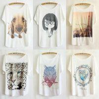 5pcs/lot Big size t shirt pullover O-neck cartoon printed t shirt women's loose cotton short sleeve slim T shirt wholesale