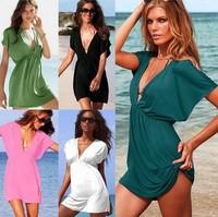 New Fashion Womens Clothing Ladies Sexy Deep V Neck Beach Bikini Stretchy Cover Up Shirt Mini Dress Size Solid dress 16 colors