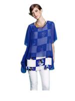 Free Shipping Women Summer new arrival 2014  Loose faux two piece set print chiffon Shirts,chiffon blouse  L XL 2XL 3XL 4XL 5XL