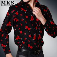 Mks men's clothing spring male easy care corduroy long-sleeve shirt 100% cotton jacquard vintage shirt thin