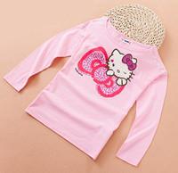 autumn new 2014 kids girl fashion pink cartoon kitty long sleeve casual cotton t-shirt children cute wholesale brief t shirt top