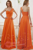 Cheap Long Short Red Orange Bridesmaid Dresses 2014 Wedding  Party Dress Prom Sexy Under $50