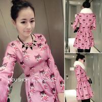 new 2014 spring fashion Korean style Cartoon cat pattern women Long-sleeved print dresses Pink Slim female Base