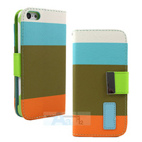 Rainbow Stand Flip Wallet Synthetic leather Case Skin Shell Cover For iPhone 5C Blue Case + Pen A167-F